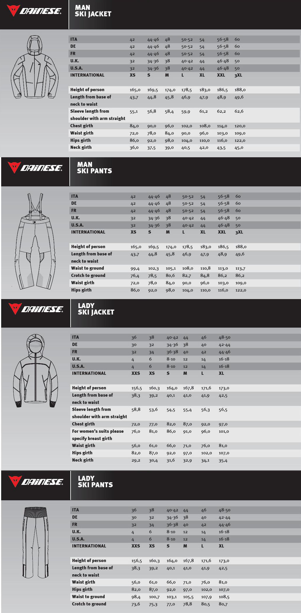 Dainese outerwear size chart