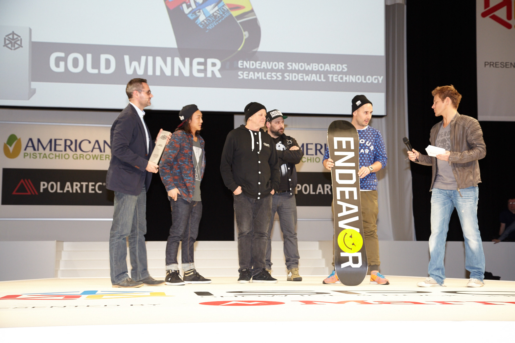The Endeavor Team Accepting a Gold Award at ISPO 2014